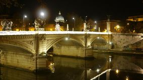 Wonderful night view over the Bridges of Rome stock video