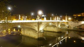 Wonderful night view over the Bridges of Rome stock video footage