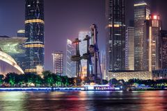 Wonderful night view of skyscrapers, Guangzhou. Scenic cityscape stock photos