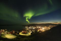 Wonderful northern lights. Northern lights above Qaqortoq Royalty Free Stock Photography