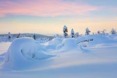 Wonderful Northern Winter Sunset Landscape Royalty Free Stock Images
