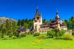 Wonderful ornamental garden and royal castle,Peles,Sinaia,Transylvania,Romania,Europe Stock Photos