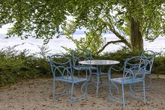 Wonderful outdoor seating area, at Lake Constance Stock Image