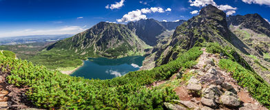 Wonderful panorama of Czarny Staw Gasienicowy in Polish Mountains. Europe Stock Images