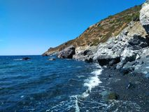 Sealandscape of Le Tombe on Elba Island, Italy. Wonderful panorama from Le Tombe beach. This place is located on Elba Island, in Tuscany, Italy. The island is a royalty free stock photography