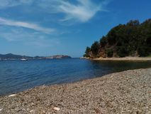 Sealandscape of Ottone beach on Elba Island, Italy. Wonderful panorama from Ottone beach. This place is located on Elba Island, in Tuscany, Italy. The island is stock images