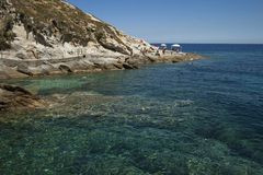 Sealandscape of S. Andrea on Elba Island, Italy. Wonderful panorama from S. Andrea beach. This place is located on Elba Island, in Tuscany, Italy. The island is stock photos