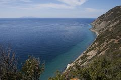 Sealandscape of S. Andrea on Elba Island, Italy. Wonderful panorama from S. Andrea beach. This place is located on Elba Island, in Tuscany, Italy. The island is stock photo