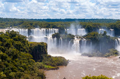 Wonderful Panorama view of Iguassu Falls, waterfall in Brazil Stock Photos