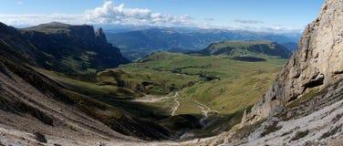 Wonderful panoramic view of alp de siusi with distinctiv schlern peak Stock Image