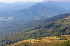 Wonderful panoramic view of Carpathians mountains, Ukraine. Evergreen gorest hills. Carpathians mountains landscape. Travel and hiking concept. Mountains stock photography