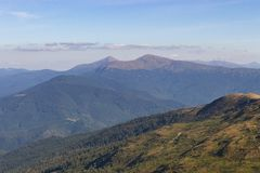 Wonderful panoramic view of Carpathians mountains, Ukraine. Mount Hoverla, Carpathians. Evergreen hills landscape with clear sky. Scenic mountains view. Summer stock images
