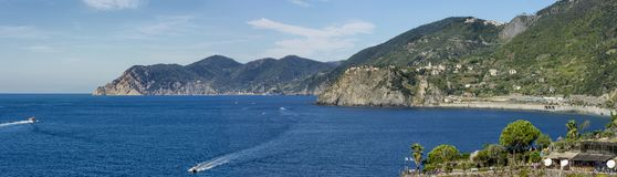 Wonderful panoramic view of the Cinque Terre park from Manarola, Liguria, Italy stock image