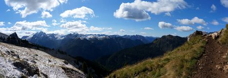 Wonderful panoramic view dolomite mountains and Royalty Free Stock Image