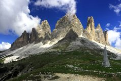 Wonderful panoramic view of the famous tre crime di lavaredo from south / three peaks in the dolomites Stock Images