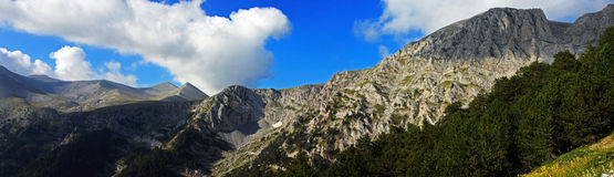Wonderful panoramic view of the Olympus mountain crests Stock Photos