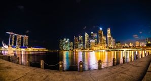 Wonderful Panoramic View of Singapore City at Night, Long Expose. Shot Stock Photo
