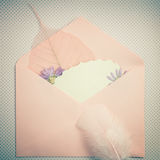 Wonderful past time, an envelope with cute things, vintage Royalty Free Stock Images