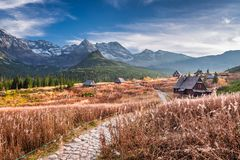 Wonderful path to the mountain valley in Tatras in Poland Stock Image
