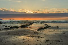 The wonderful and peculiar beach of Barrika.  royalty free stock image