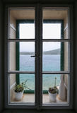 Wonderful picture of window with amazing sea view Royalty Free Stock Photos