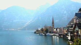 Wonderful place in Austrian Alps, Hallstatt village near lake stock video footage