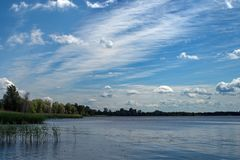 Clouds over the Ukrainian lake stock photo