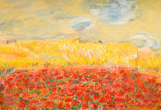 Wonderful poppy field. Hand drawn vibrant pastel illustration of beautiful field with red poppies Royalty Free Stock Photo