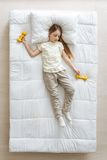 Wonderful pretty girl tired after gymnastic Stock Image