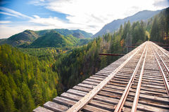 Wonderful railroad with beautiful nature in USA Stock Photo