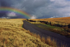 Wonderful rainbow above the field. With the cloudy sky Royalty Free Stock Photography