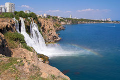 Wonderful rainbow on Duden river Waterfall  in Stock Photography