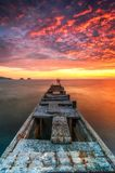 THE WONDERFUL RED SKY IN TWILIGHT TIME Royalty Free Stock Photography