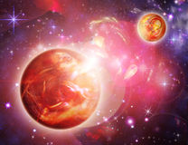 Wonderful red space. With planets Royalty Free Stock Photo