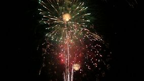 Wonderful red white blue festival fireworks show video stock footage