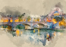 Wonderful River Tiber and the ancient bridges in Rome - romantic view in the evening. Illustration Royalty Free Stock Photo