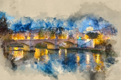 Wonderful River Tiber and the ancient bridges in Rome - romantic view in the evening. Illustration Royalty Free Stock Photos