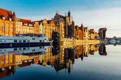 Wonderful riverside of Motlawa river by the morning, Gdansk, Pol Royalty Free Stock Photography