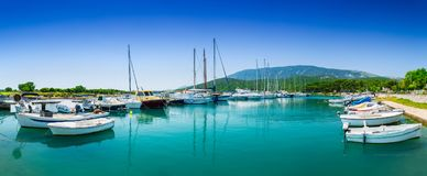 Wonderful romantic old town at Adriatic sea. Boats and yachts in royalty free stock images