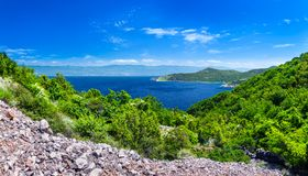 Wonderful romantic summer afternoon landscape panorama coastline Adriatic sea. The magical clear transparent azure water in the ba Stock Photo