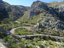 Curvy street to Sa Calobra, Mallorca, Ballears Royalty Free Stock Photography