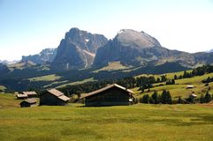 Wonderful scenic view to langkofel group from alp de siusi Royalty Free Stock Photos