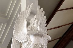 The wonderful sculpture of accultured angels inside The Holy S stock images