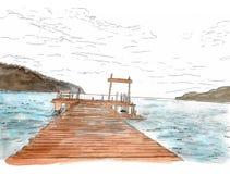 Wonderful sea veiw. Pier sketch. Wooden port , sea , mountain Royalty Free Stock Images