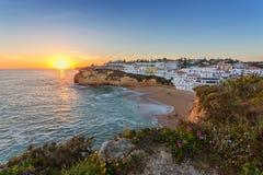 Wonderful seascape of Carvoeiro at sunset. Royalty Free Stock Photos