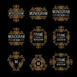 Wonderful set, style art nouveau. Elegant Line Art Logo, Emdlem and Monogram Design, vector template Royalty Free Stock Photo