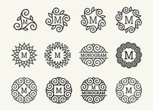 Wonderful set, style art nouveau. Round Elegant Line Art Logo, Emdlem and Monogram Design, vector template Royalty Free Stock Image