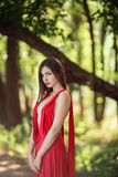 Photo of fashion woman in red dress in fairy forest. Beauty springtime royalty free stock photo