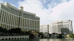 Wonderful shot of the Bellagio hotel and a fountain stock video