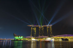 The wonderful show on Marina Bay Sands Hotel Stock Image